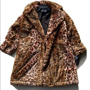 French Connection Analia Ombre Faux Fur Coat NWT